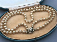 Double Strand Pearl Necklace Simulated Vintage Big Bead Beaded Faux Pearls 40cm