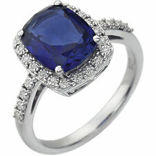 Blue Sapphire Created Gemstone & .07 ctw Diamonds Halo Style Ring 14K White Gold