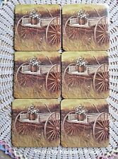 6 Rustic Country Wagon Coasters With Flowers Cork Back New