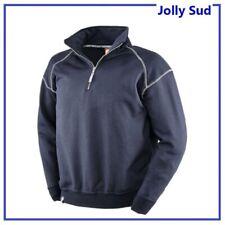 Felpa da Lavoro Maglia Maniche Lunghe Mezza Zip Invernale e con Collo Alto Blu