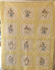 """Vtg Hand Embroidered and Hand Quilted Bunny Baby Blanket Crib Quilt 34"""" x 42"""""""