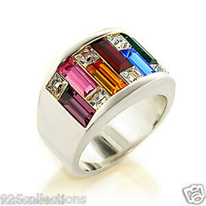925 Sterling Silver LGBT Multi Rainbow Gay Pride Crystal Men's Ring Band Size 9