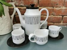 MID CENTURY RETRO MIDWINTER GRAPHIC PART COFFEE SET 11 PIECES BLACK AND WHITE