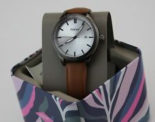 NEW AUTHENTIC FOSSIL GUNMETAL GREY BROWN LEATHER WOMEN'S BQ3345 WATCH