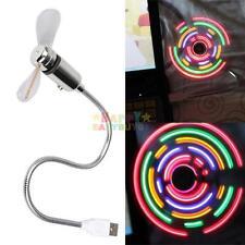 Mini Fan Flexible Cool Office Gadget Desk USB LED Light For PC Notebook