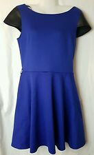 Womens Wavy dress with leather shoulders size 14  excellent condition