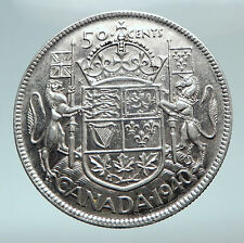 1940 CANADA UK King GEORGE VI Coat-of-Arms Large SILVER 50 Cents Coin i81038