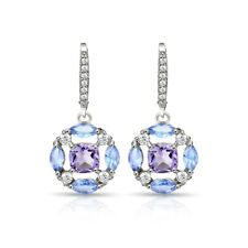 Amethyst, Tanzanite & White Topaz Circle Dangle Leverback Earrings in 925 Silver
