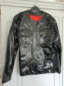 Unique Hand Made Tailored Black Patent Leather Suit Size 18-20 BNNT