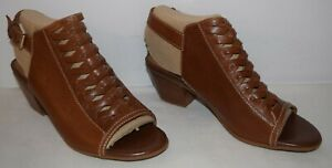 Comfortiva Alanna Woven Leather Heeled Sandals Cognac Women's Size 8 M New