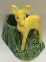 Vtg MODERN Era Shawnee Art Pottery Yellow Deer On Grass Planter USA #624 Planter