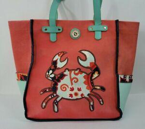 Spartina 449 Crab Daufuskie Island Red Blue Crab Beach Bag Canvas Tote Purse