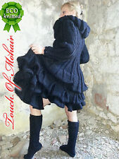 New Hand Knitted NO Mohair Sweater MEGA DRESS BLACK Thick 100% WOOL MERINO S-M