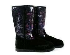 Ed Hardy Women's ICELAND Sequin Boots Love Kills Black