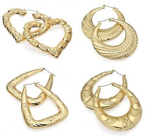 Gold Tone Bamboo Punk Big Hoop Large Circle Earrings Hiphop Women Jewellery Gift
