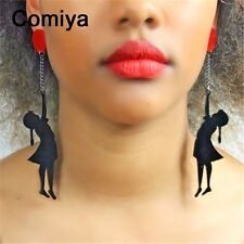 RETRO STYLE PLASTIC BLACK RED BALLOON GIRL LONG DANGLE EARRINGS - UK SELLER