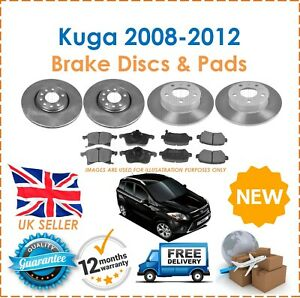 For Ford Kuga MK1 2008-2012 Two Front & Two Rear Brake Discs & Brake Pads Set
