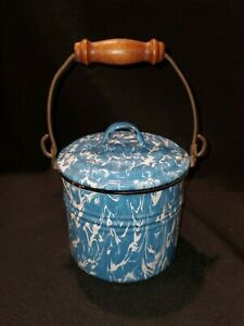 Antique Blue and White Enamelware/Graniteware Lunch Pale- Lid and Handle(d4)