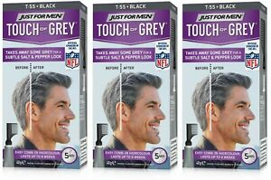 3 Just For Men T55 Touch Of Grey Hair Color Black Gray 40g Colour Dye Permanent