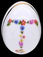 """Limoges France Floral Egg Trinket Floral Letter """"T"""" Initial Trinket Jewelry Box"""