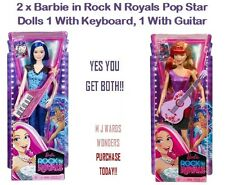2 X Barbie en Rock N monarcas Pop Star Muñecas 1 con teclado, guitarra 1 con