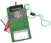 Green Leather Passport Cover Neck Strap ID Holder Card Wallet Travel Organizer