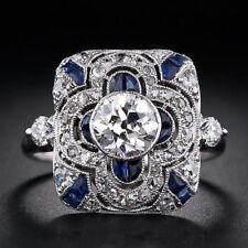 Jewelry 925 Silver Ring Sapphire White Topaz Women Wedding Engagement Size 6-10