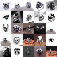 Vintage Men's Stainless Steel Fashion Gothic Punk Biker Finger Rings Jewelry New