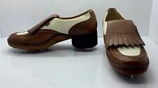 GUCCI Brown White Leather Kiltie Woman's Golf Shoe Oxford 6.5D Italy Very Rare!