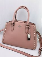 NWT Coach Empire Carryall Lacquer Rivets Pebble Blush Leather Bag 36013