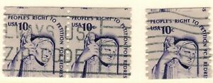 US EFO Scott #1617 Right to petition 10c pair and single USED Major Miscut!
