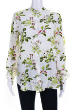 Equipment Womens Silk Long Sleeve Berry Leaf Print Button Blouse White Size S