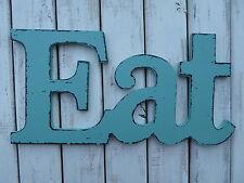 EAT ~ Aqua Teal WOOD Distressed LETTER Kitchen Cafe Diner Sign WALL DECOR