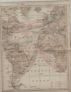 Steam navigation lines of the Atlantic ocean 1890s old map