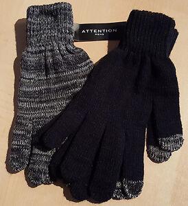 Mens Set of 2 Stretchy Knit Gloves: M/L-L/XL