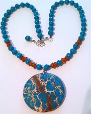 "Pretty Turquoise Necklace & Big Blue Copper Turquoise Pendant, 21 1/2""-23"" long"