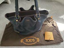 Authentic TOD's Medium Leather Flower Handbag Navy Blue Excellent Condition
