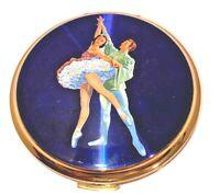 Vintage Stratton Ballet Ballerina Theme Blue Gold Tone Powder Compact Mirror