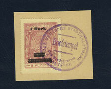 Poland 1918 Bialystok stamps 1Mk used without a signature R.Wolfsohn on piece