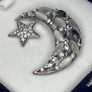 Pretty Brooch Crescent Moon Star Silver Tone Clear AB & Opalescent Rhinestone
