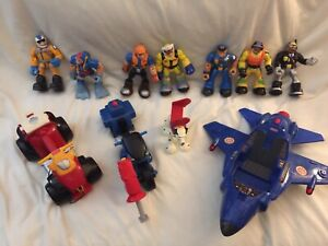 Fisher Price Mattel Rescue Heroes Lot 7 Figures Dalmation Dog 3 Vehicles