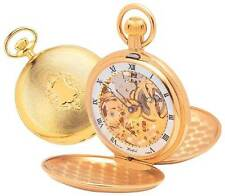 Twin Lid Swiss Pocket Watch Skeleton Mechanical Gold Plated -Woodford -1014