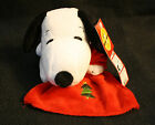 """DanDee Peanuts 9"""" Snoopy With Red Blanket Embroidered Christmas Tree Plush Dog"""
