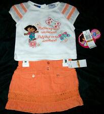 NICK JR Infant Girls 12M 12 Months DORA  2 pc Set White Tee Top Orange Skort NWT