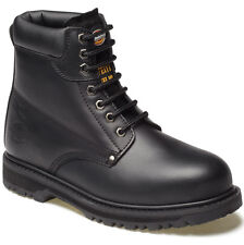MENS DICKIES CLEVELAND SAFETY BOOTS SIZE UK 8 WORK BLACK LEATHER FA23200