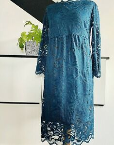 H&M MATERNITY Dress Size Medium TEAL LACE | SMART Occasion WEDDING Pregnancy