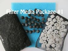 Aquarium External Canister Filter MEDIA KIT #1 Sponge Carbon Noodles Bio Balls