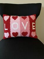 Love Valentines Wool Rug Hooked Decorative Pillow Pink Red Hearts 16x12