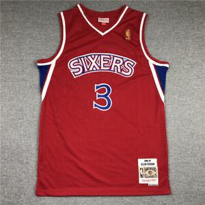 Allen Iverson #3 Philadelphia 76ers Red Throwback Swingman Jersey Size S-XXL