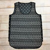 Vince Camuto Silky Printed Sleeveless Blouse Top Black/Ivory Womens Small S